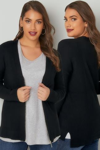 Cardigans Black Knit Cardigan With Zip Front 124101