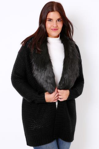 Black Knitted Chunky Cardigan With Fur Collar Trim