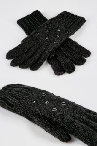 Gloves Black Knitted Gloves With Diamante Detail 152322