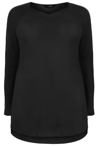 Black Knitted Jumper With Cold Shoulders & Dipped Hem