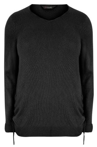 Jumpers Black Knitted V-Neck Jumper With Lace Up Sides 124111