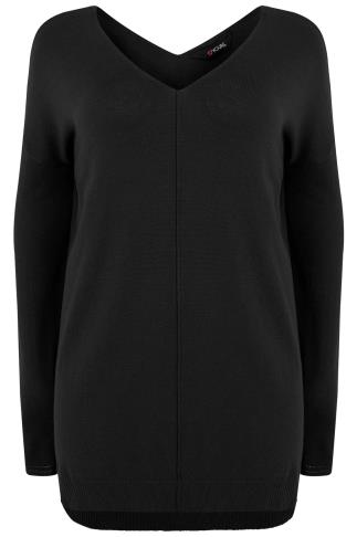 Black Knitted V-Neck Longline Jumper With Step Hem