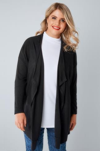 Cardigans Black Knitted Waterfall Cardigan 103099