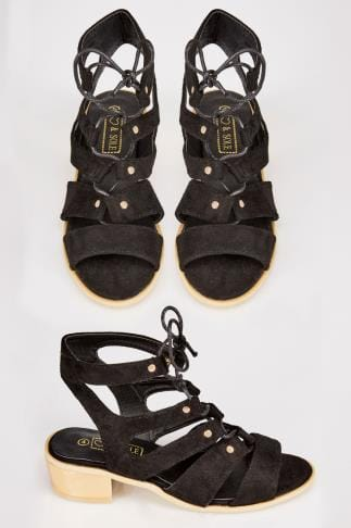 Black Lace-Up Gladiator Style Sandals With Gold Block Heel In E Fit