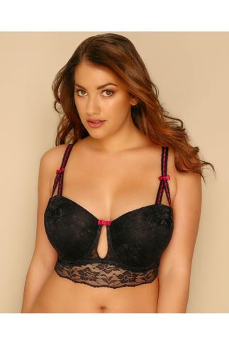 Black Lace Balconette Bra With Red Bow Detail