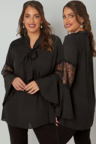 Blouses YOURS LONDON Black Lace Blouse With Flute Sleeves & Pussy Bow Tie 156274