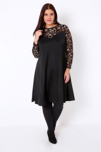 Black Lace & Crepe Mix Swing Dress With Sweetheart Neckline 103185