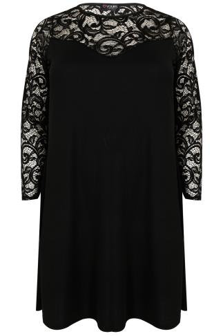 Black Lace & Crepe Mix Swing Dress With Sweetheart Neckline