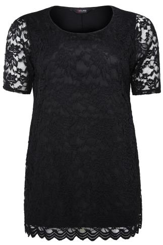 Black Lace Front Top With Scalloped Hem