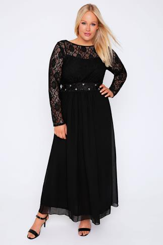 Black Lace Maxi Dress With Embellished Waist