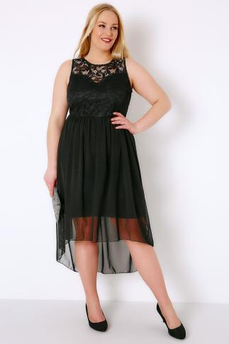 Black Lace & Mesh Sleeveless Dress With Dipped Hem