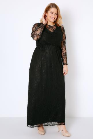 Black Lace Overlay Maxi Dress With Elasticated Waist