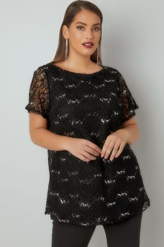 Party Tops Black Lace Shell Top With Sequin Details 134253