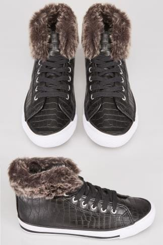 Baskets Black Lace Up Hi Top Trainers With Fur Trim In EEE Fit 053701