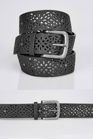 Black Laser Cut Floral Belt With Silver Buckle
