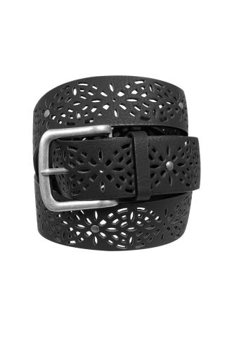 Black Laser Cut Floral Belt With Silver Buckle 102358