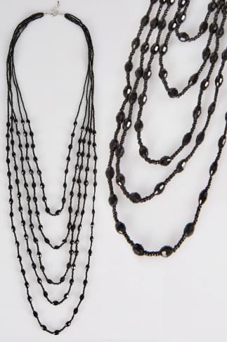 Black Layered & Beaded Long Necklace