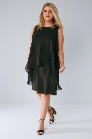Party Dresses Black Layered Front Dress With Detachable Diamante Trim 136069
