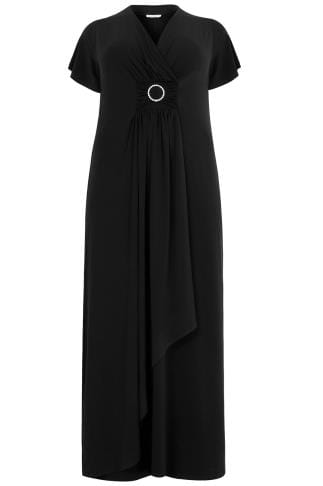 YOURS LONDON Black Layered Maxi Dress With Ring Detail