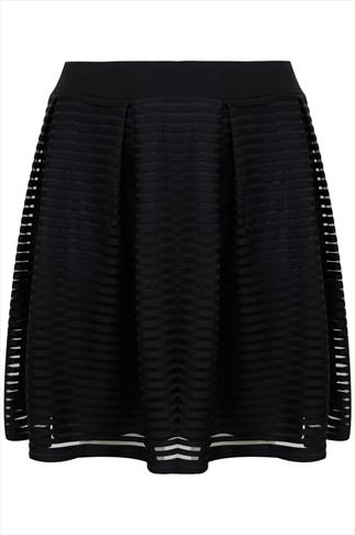 Black Layered Rib Striped Textured Skater Skirt With Pleating