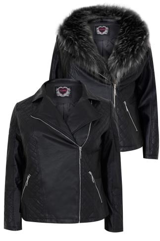 Black Leather Look Jacket With Large Faux Fur Collar