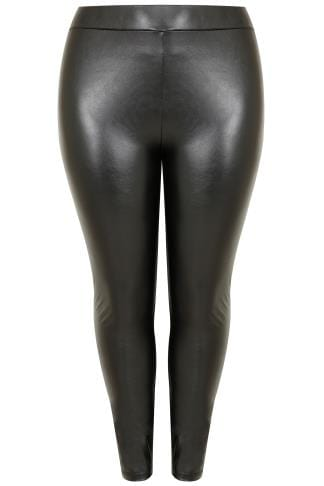 Black Leather Look PU Leggings