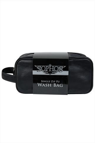 Black Leather Look Travel Washbag