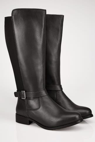 Wide Fit Boots Black LEATHER XL Calf Riding Boots With Stretch Panels & Buckle Details In TRUE EEE Fit 154097
