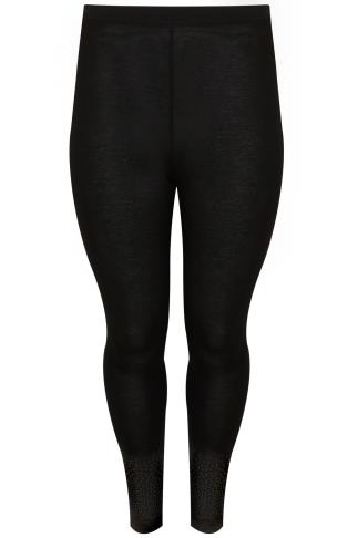 Black Leggings With Caviar Bead Hem