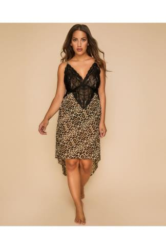 Nightdresses & Chemises Black Leopard Print Lace Chemise With Dipped Hem 156162