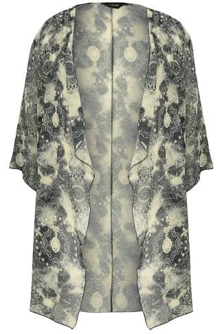 Black & Light Yellow Circle Tile Print Chiffon Kimono With Waterfall Front