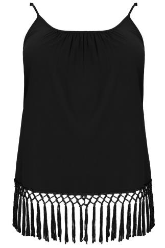 Black Lightweight Cami Vest Top With Fringed Hem