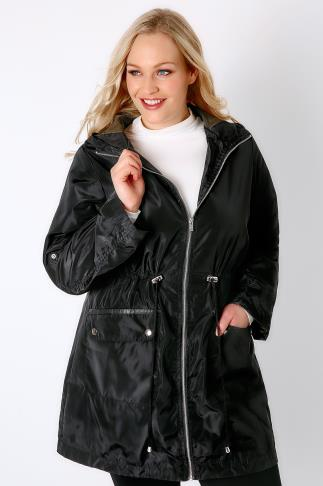 Parkas Black Lined Parka With Hood 102816