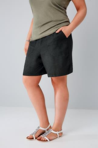 Black Linen Mix Pull On Shorts With Pockets 144002