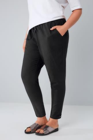 Black Linen Mix Pull On Tapered Trousers With Pockets 144001