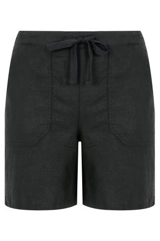 Black Linen Mix Pull On Shorts With Pockets