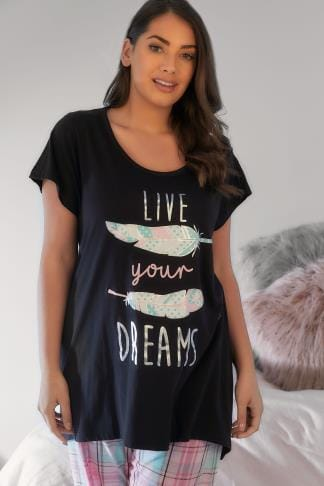 Pyjama Separates Black 'Live Your Dreams' Slogan Print Pyjama Top 148140