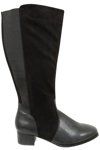 Wide Fit Knee High Boots Black Long Boot With Block Heel & Stretch Fabric Panel In EEE Fit 102204