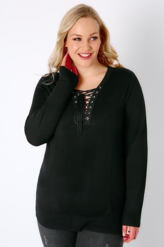 Jumpers Black Long Sleeve Jumper With Lace Up Neckline 100402
