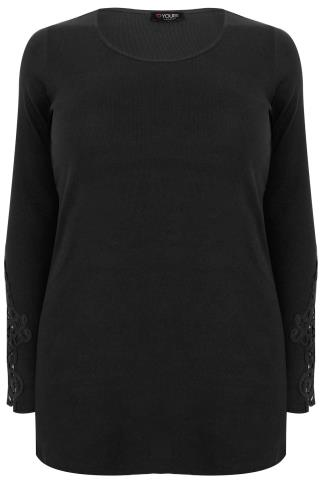 Black Long Sleeve T-Shirt With Crochet Detail