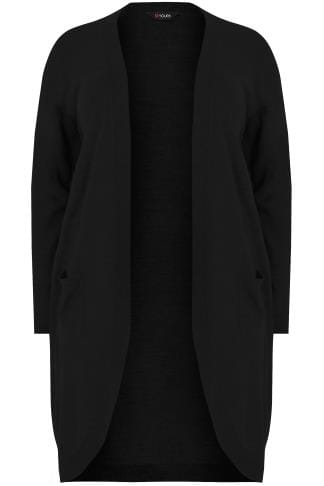 Cardigans Black Longline Cardigan With Pockets 124088