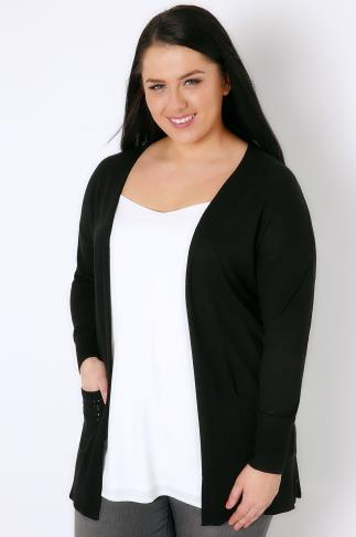 Black Longline Cardigan With Pointelle Pocket & Cuff Detail