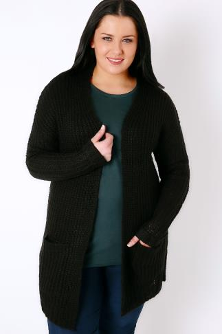 Black Longline Chunky Knit Cardigan With Pockets