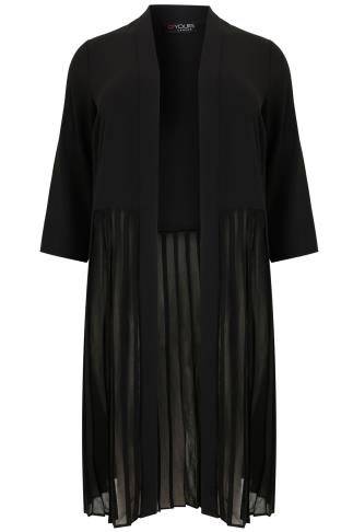 Black Longline Crepe Jacket With Sheer Pleat Bottom Panel