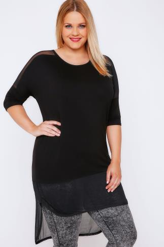 Black Longline Drop Shoulder Top With Mesh Panels & Dip Hem