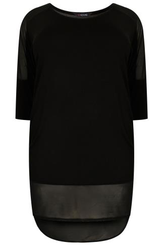 Black Longline Drop Shoulder Top With Mesh Panels And Dip Hem
