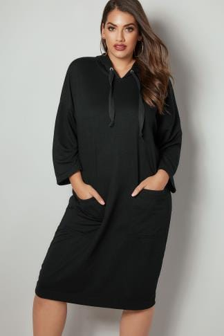 Hoodies & Jackets Black Longline Hoodie With Front Pockets 126092