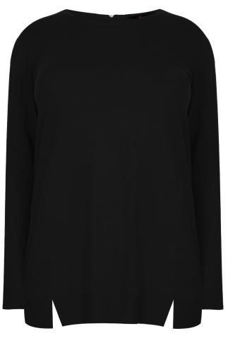 Black Longline Jumper With Zip & Hem Details
