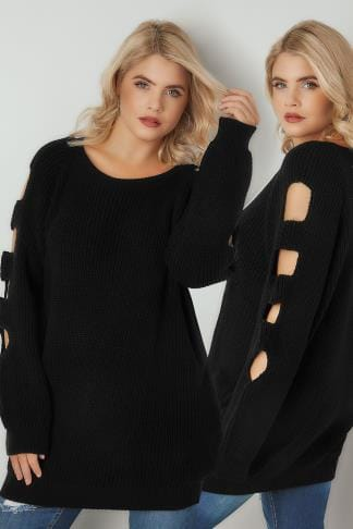 Jumpers Black Longline Knitted Jumper With Cut Out Sleeves 124192