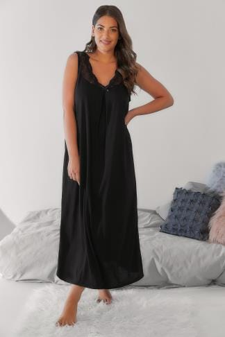 Nightdresses & Chemises Black Longline Nightdress With Neckline Lace Detail 102351